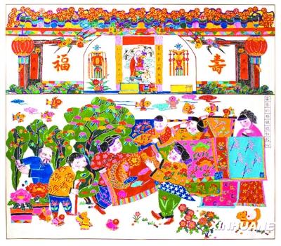 临朐年画创作者李志君的手绘年画《婆婆的棉被,媳妇的心》.